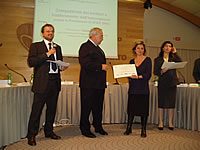 Daniela Sena, Project Manager AlpCity - Regione Piemonte -  collecting Diploma of Merit for the AlpCity Project (on Best Practices)